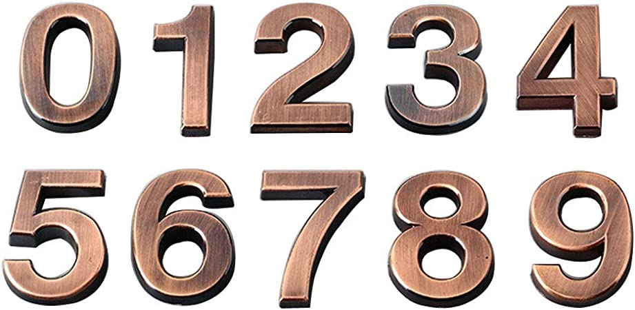 Self Adhesive 3D House Shop Door Numbers 5CM Tall Sticker Black /& Golden 0 to 9