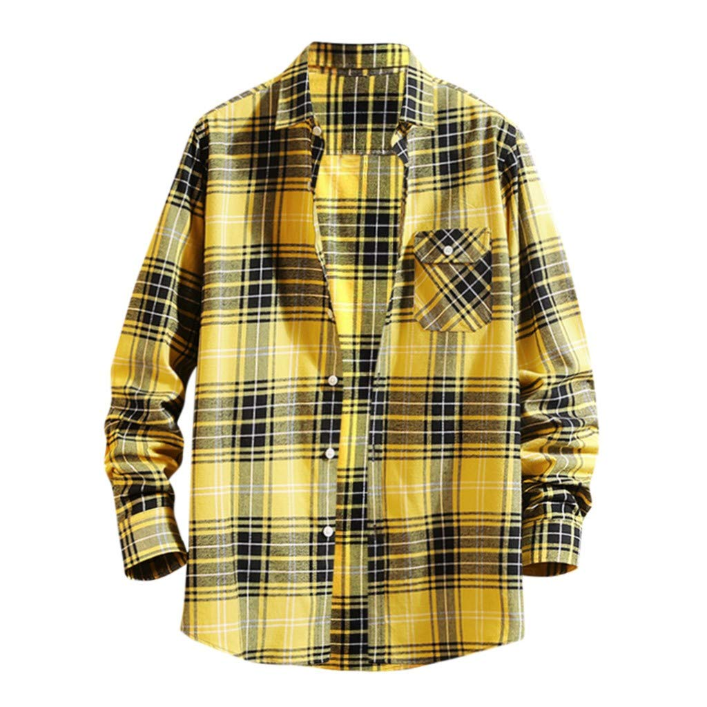 WINJUD Mens Shirt Classic Plaid Plus Size Tops Long-Sleeve Turn-Down Collar Casual Top Yellow by WINJUD