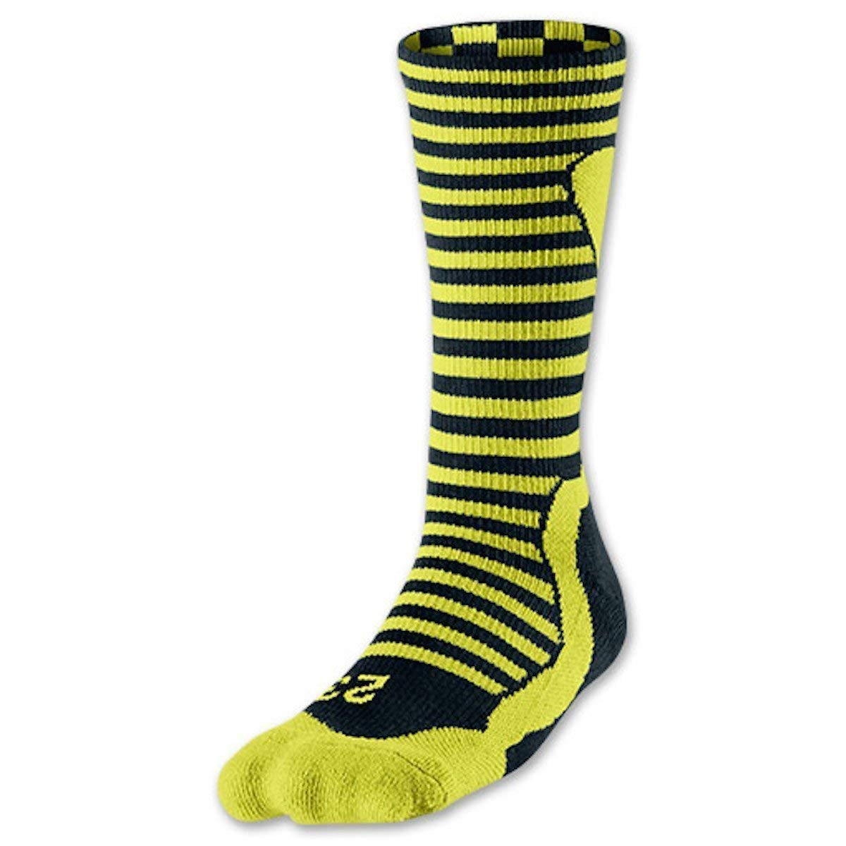 8-12 Venom Green Black Jordan Mens Retro 10 Bobcat Crew Socks Large