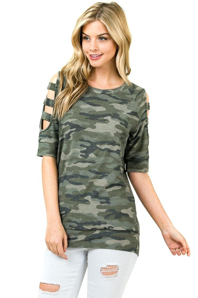 Modern Kiwi Camouflage Cold Shoulder 3/4 Short Sleeve Ladder Cutout Sweater Top Olive 3X