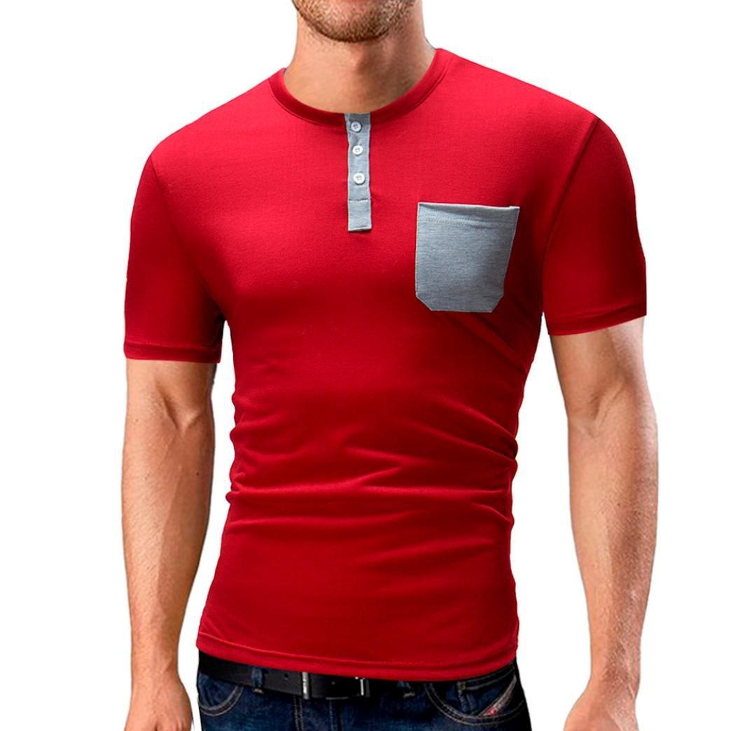Longra Herren T-Shirt Einfarbige T-Shirts Taschen-Trend T-Shirts Kurzarm Knopfleiste Bluse Tops mit Rundhalsausschnitt Casual Basic O-Neck Shirts Freizeit Oberteile  M|Red