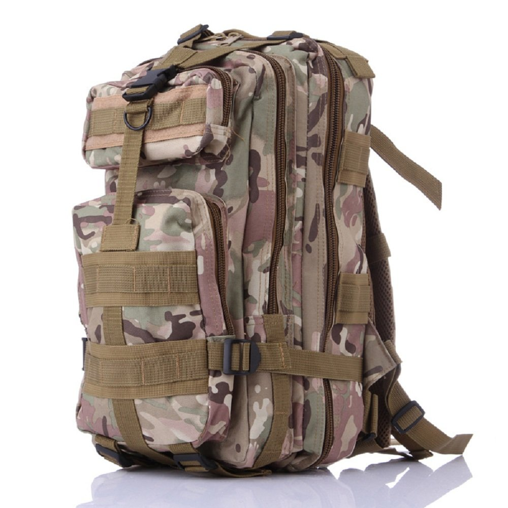 3pタクティカルミリタリーバックパック、feskin優れた防水ウェアラブル耐久性Double Shoulder Bag for Kidsキャンプ、登山、ハイキング、シューティングアウトドアスポーツ LYSB01L1XOPVE-SPRTSEQIP  CP迷彩 B01L1XOPVE
