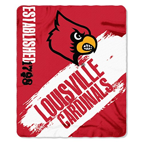 Louisville Comforter Cardinals (The Northwest Company NCAA Louisville Cardinals Painted Printed Fleece Throw, 50