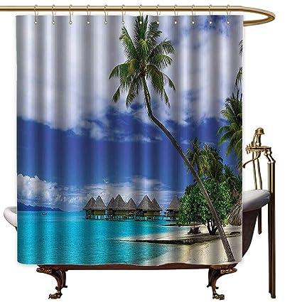 Amazon Com Godves Bathroom Shower Curtain Tropical Decor
