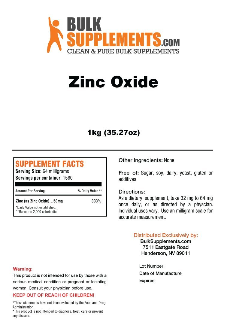 BulkSupplements Zinc Oxide Powder (5 Kilograms)