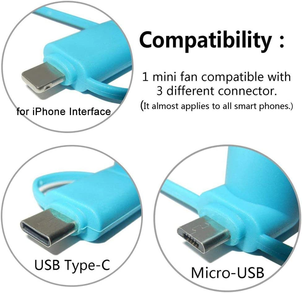 Gsdviyh36 Portable 3 in 1 USB Mute Home Travel Office Mini Cooling Fan Mobile Phone Cooler Portable Durable Green