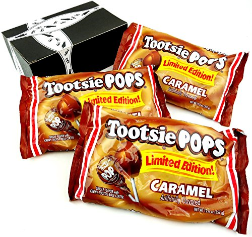 Tootsie Limited Edition Caramel Pops, 12.6 oz Bags in a BlackTie Box (Pack of 3)