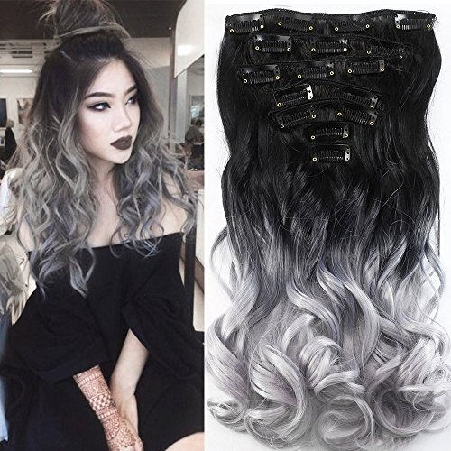 Neverland Two Tone 7pcs Ombre Curly Hair Extensions Haarteil(Natural Schwarz Silbergrau )