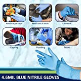 #8: Blue Nitrile Disposable Gloves Powder Free Textured 4.6 Mil Thickness Latex Free Food & Safety Glove-Size XL (Box of 100)