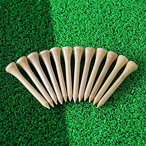 Gfortune 100pcs Professional Wooden Golf Tees Ball Marker Aerodynamically Designed Low-resistance Tip Eco-friendly Wood Golf Tee (Wooden, 54mm/2.12 Inch)