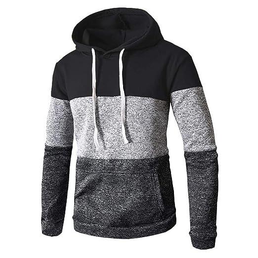 f6d352b43502a FRCOLT Autumn Mens Cotton Color Block Long Sleeve Slim Pocket Fit  Drawstring Hoodies (M