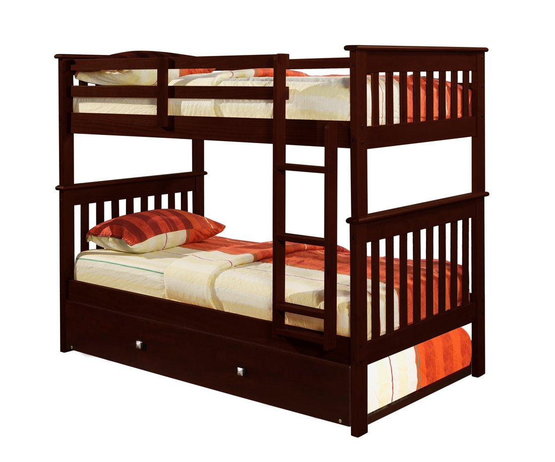 Amazon Bunk Bed Twin Over Mission Style In Cappucino With Trundle Kitchen Dining