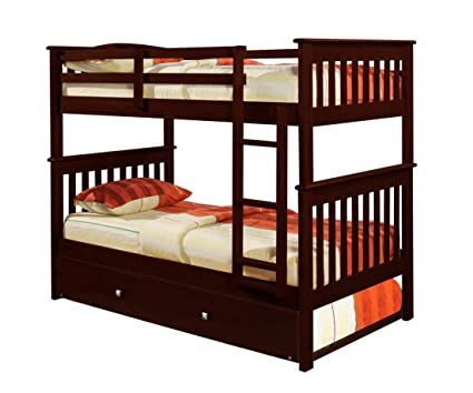 Amazon Com Bunk Bed Twin Over Twin Mission Style In Cappucino With