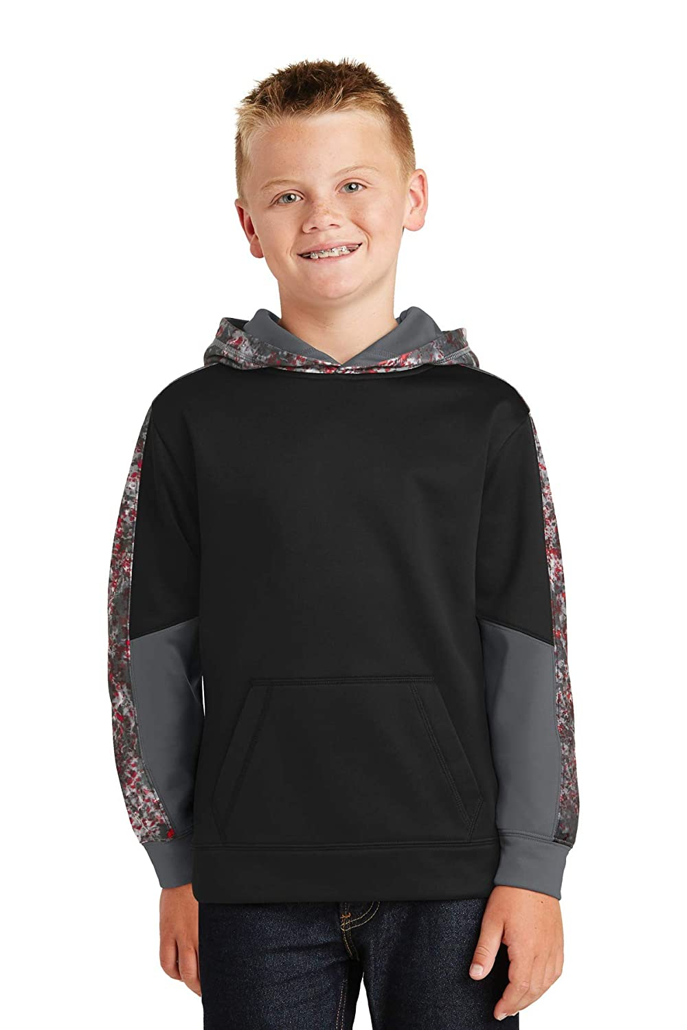 ST Youth Sport-Wick Mineral Freeze Fleece Colorblock Hooded XS Deep Red//Black