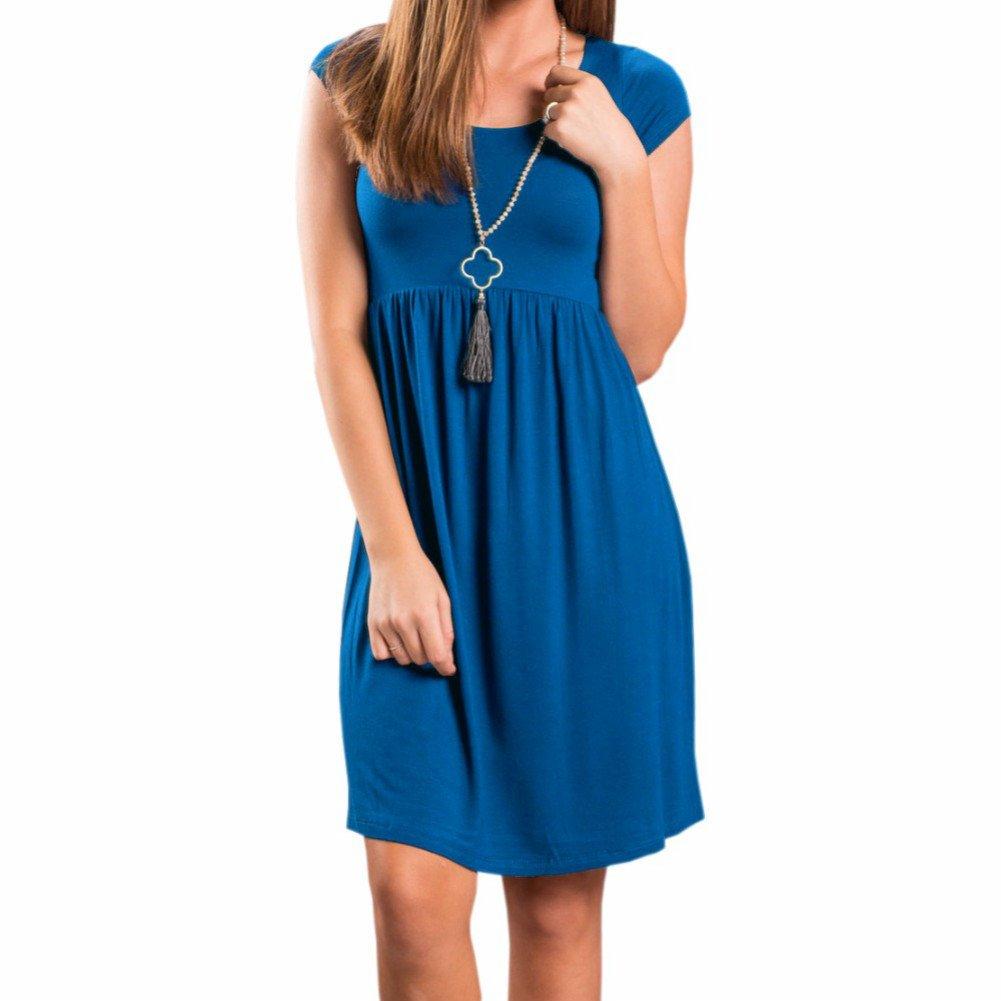 PRIMODA Women's Long Sleeve Pleated Polka Dot Pocket Midi Dress Short Sleeve Empire Waist Casual Swing T Shirt Dress(blueeL)