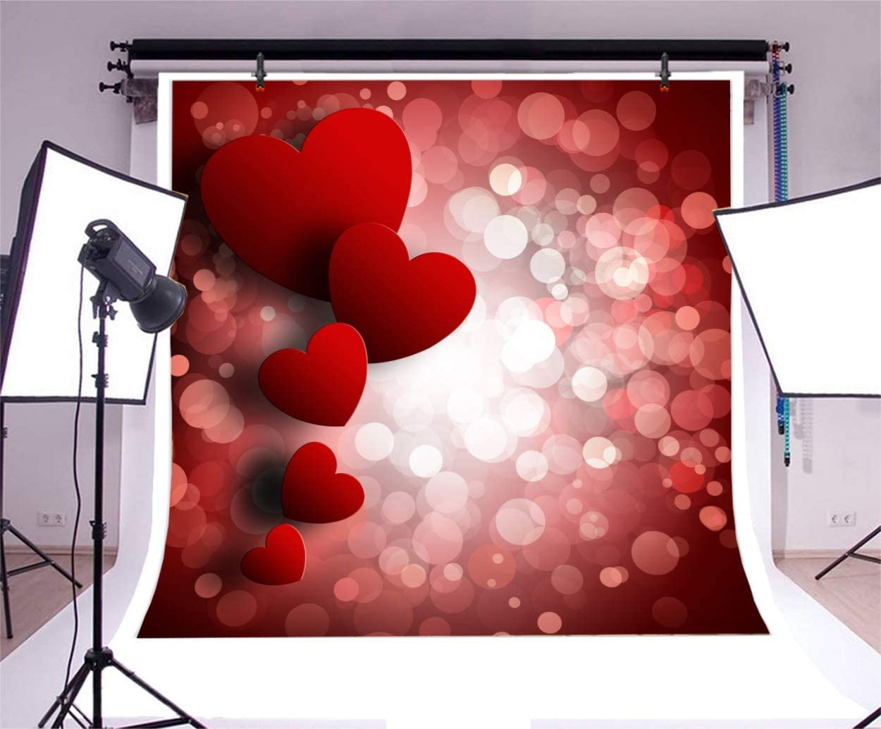 10x10ft Valentines Red Hearts Backdrop Shiny Halos Bokeh Backgroud Romantic Love Sweet Girls Room Wallpaper Lover Party Wedding Anniversary Photo Booth Props