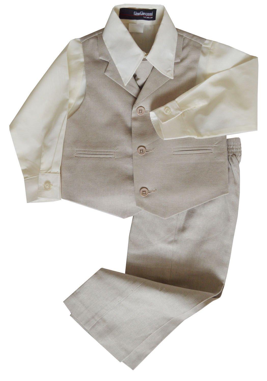 G270 Boys Summer Linen Blend Suit Vest Dresswear Set (8, Natural)