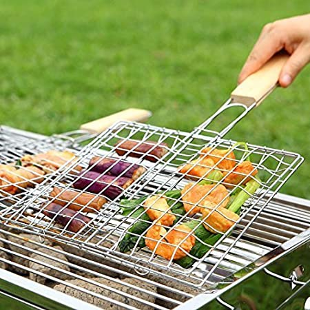 VelKro Chromium Plated Stainless Steel Barbecue BBQ Grill Net Basket with Wooden Handle