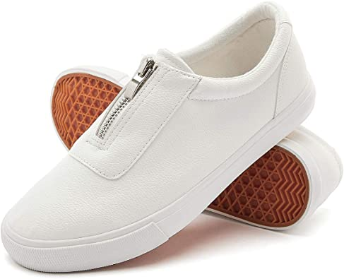 White Pu Leather Sneakers Slip on