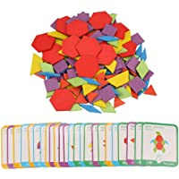 Colorful Wooden Pattern Blocks Set, Kids Children Toddlers Educational Puzzle Board Set, Learning Education Toys