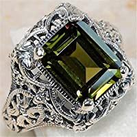 khamchanot Rectangle Peridot 925 Silver Sterling Art Nouveau Filigree Wedding Rings Sz 6-10 (8)