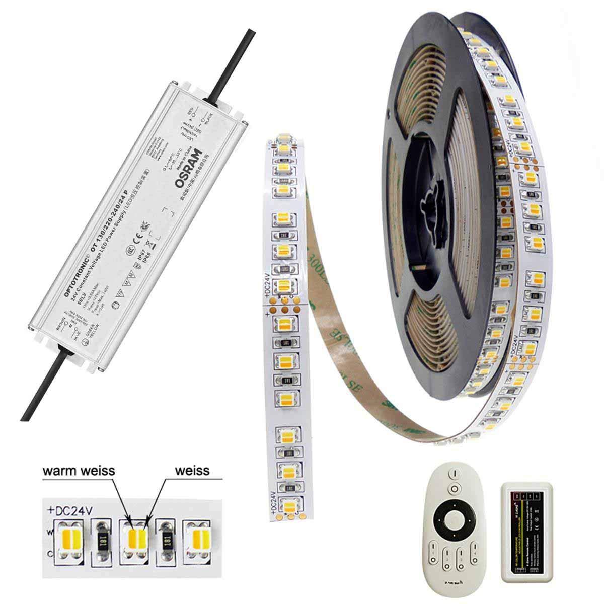 BRILEDA® CCT LED-STREIFEN SET Tunable Weiß 600 LED 5m 90Ra OSRAM Trafo 24V 130W