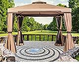 SUNCROWN Outdoor Garden Gazebo 10' x 10' Patios Gazebo All-Season Permanent Gazebo w/Vented Soft Canopy, Double Square Tops & Mosquito Netting- Beige | Front Porch, Sand