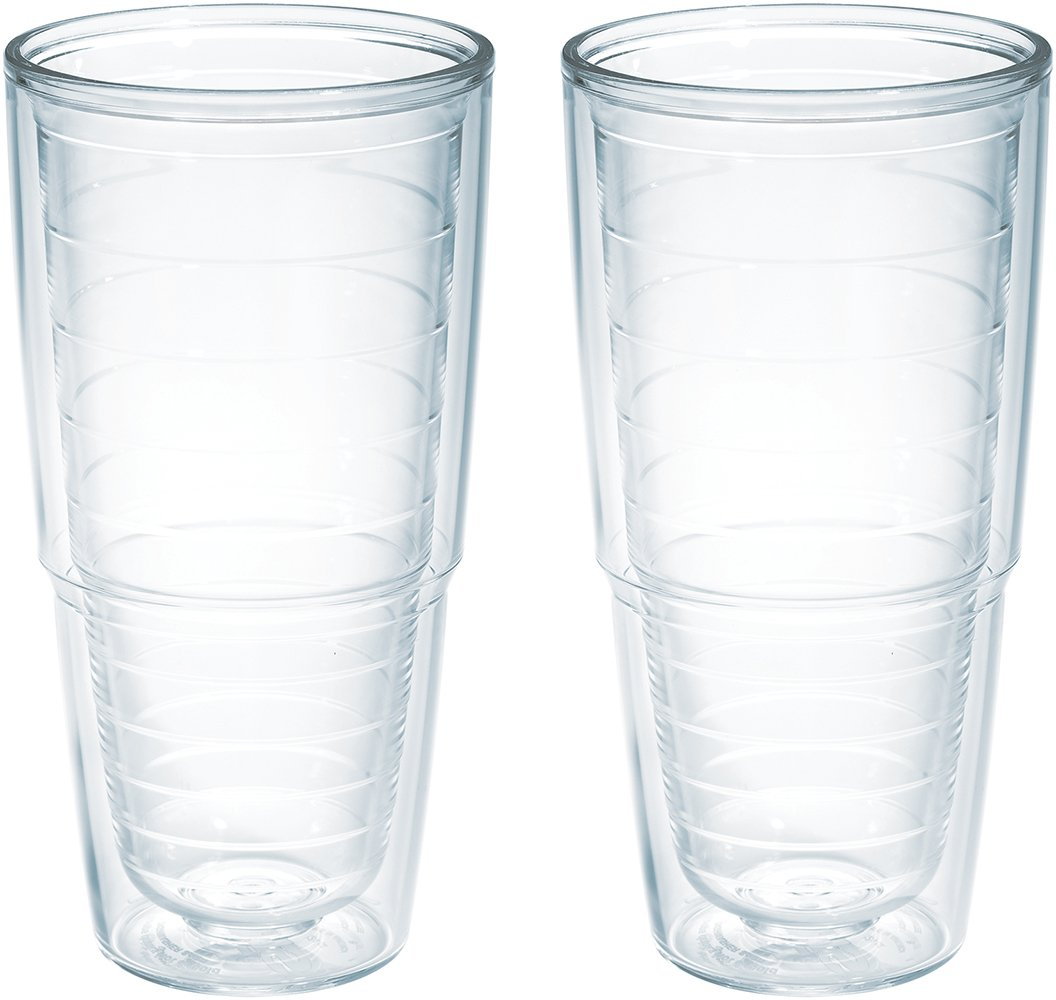 Tervis 1001833 Clear & Colorful Insulated Tumbler 2 Pack - Boxed 24oz, Clear