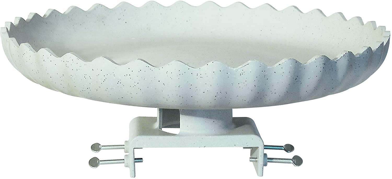 Farm Innovators Model HBC-120 All Seasons Decorative Gray Stone Scalloped Heated Birdbath with Deck Mount, 120-Watt