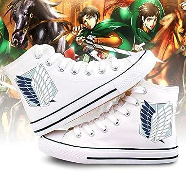 Telacos Attack on Titan Shingeki No Kyojin Wings of Liberty Cosplay Chaussures en toile Chaussures Baskets Blanc//Noir