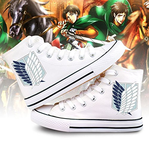 Attack On Titan Shingeki No Kyojin Alas De La Libertad Zapatos De Cosplay Zapatos De Lona Zapatillas Blanco / Negro Blanco
