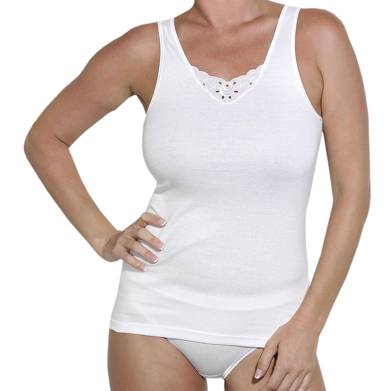 Ott-tricot Damen Unterhemd 2-er Pack in Weiß 100% Baumwolle mit Spitzeneinsatz Gr.38 bis Gr.54 Unterwäsche