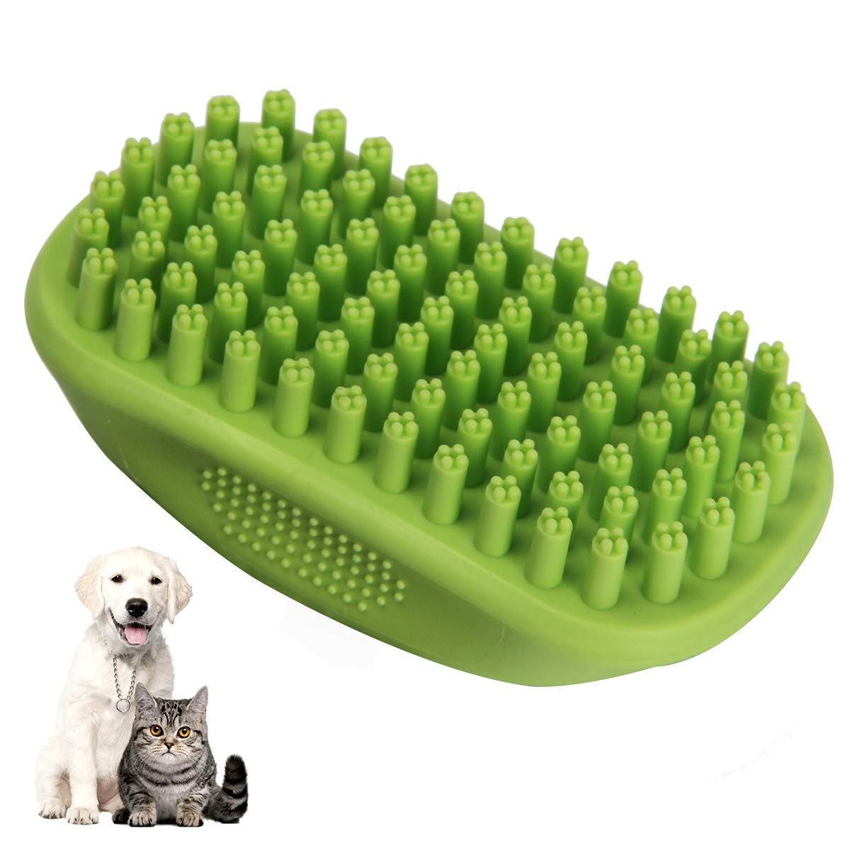 lcfun Pet Bath & Massage Brush Comb Great Grooming Tool Soft Rubber Bristles Long & Short Hair Medium Large Pets Dogs Cats Shampooing Shower