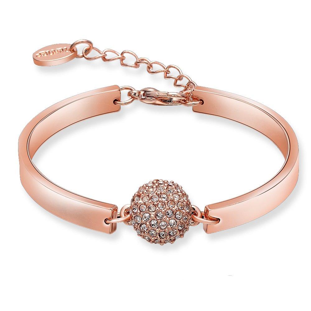 BEMI Rose Gold Metal Cat Eye Zircon Flower Charm Bracelet Love Gift Chain Bracelets for Women LeiZ INC CBB-312