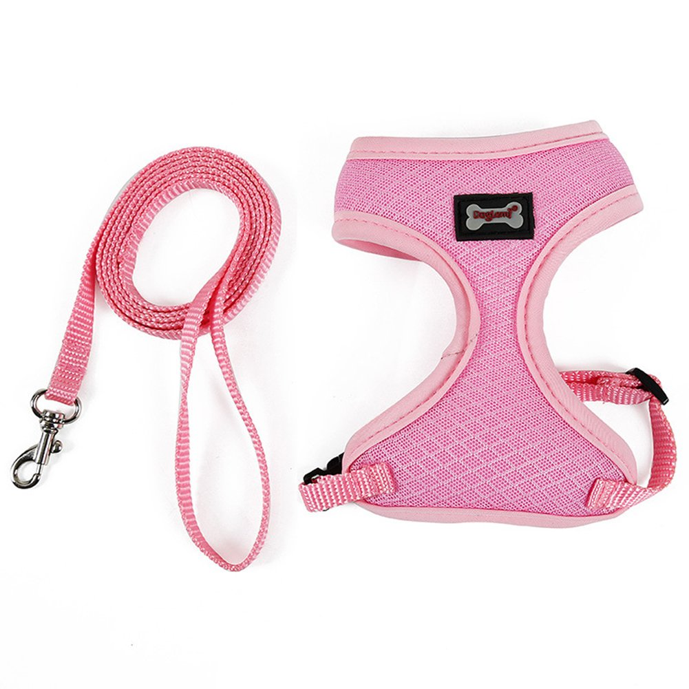 NACOCO Mesh Cat Harness with Leash Pet Harness Set Kitten Walking Vest for Small Cat and Puppy (Pink)
