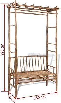 XINGLIEU - Banco de bambú con Pérgola para Balcón, Patio o terraza al Aire Libre: Amazon.es: Hogar