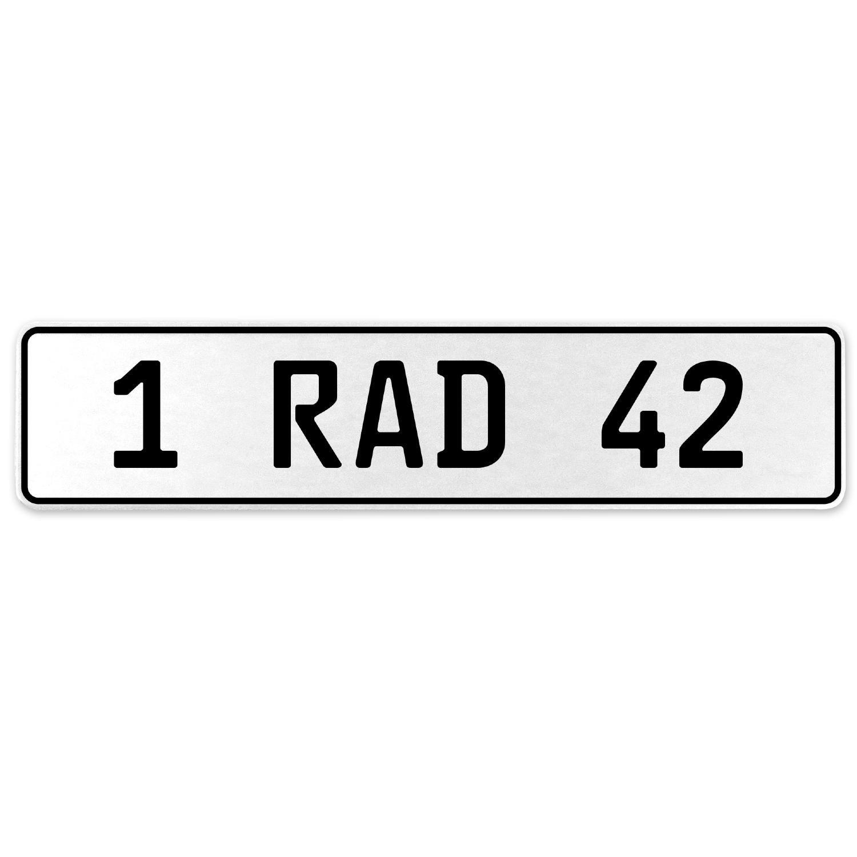 Vintage Parts 554045 1 RAD 42 White Stamped Aluminum European License Plate