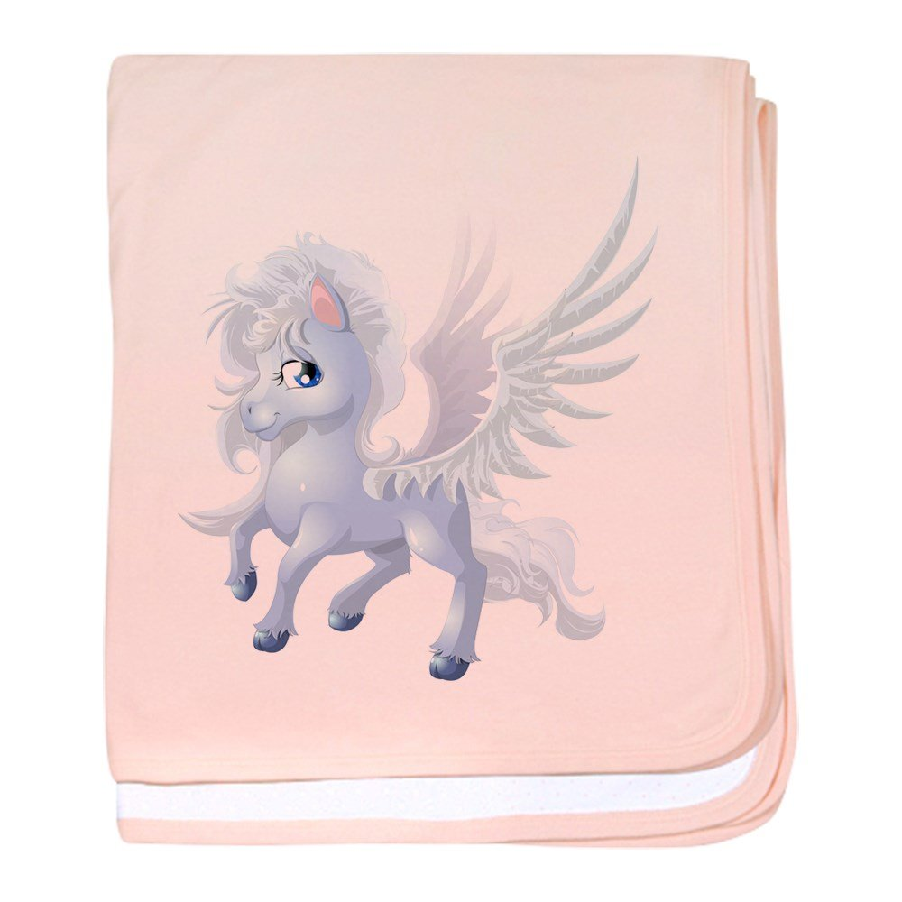 Truly Teague Baby Blanket Cartoon White Winged Pegasus - Petal Pink