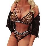 Moonuy Sauvage Femmes Soutien-Gorge imprimé léopard Sexy sous-vêtements  G-String Lettre d946feffa9b