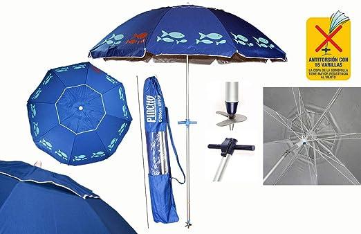 Pincho Sombrillas Playa 2m Aluminio UPF+50 99% UV Punta de Aluminio Reforzado 16 Varillas-Anti torsión (Azul Peces): Amazon.es: Jardín