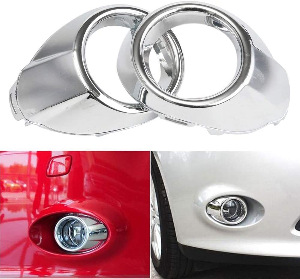 GSRECY 2012-2014 For Focus Bumper Fog Lights Driving Lamps w//Bezel+Chrome Grille Cover Pair Black