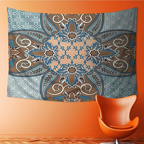 Nalahome Wall Tapestries Arabian Style Islamic Persian Art Elements and Baroque Touch Art Print Brown Teal Tapestry Table Cover Bedspread Beach Towel Lattern(90.5W x 59L INCH) by Nalahome