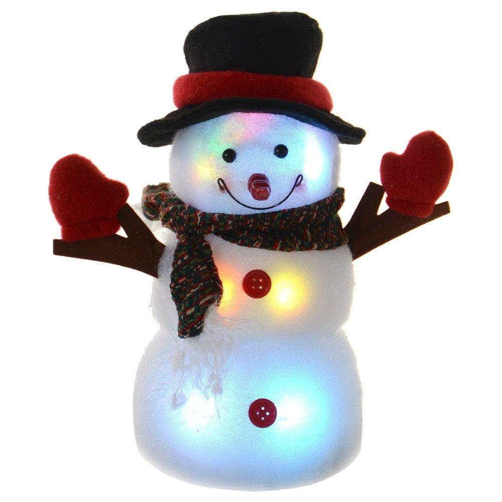 Festive 24cm Light Up LED Light Cute Snowman Christmas Decoration ...