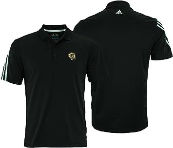adidas Boston Bruins Logo 3 Stripes Polo de Golf, Negro, Atlético ...