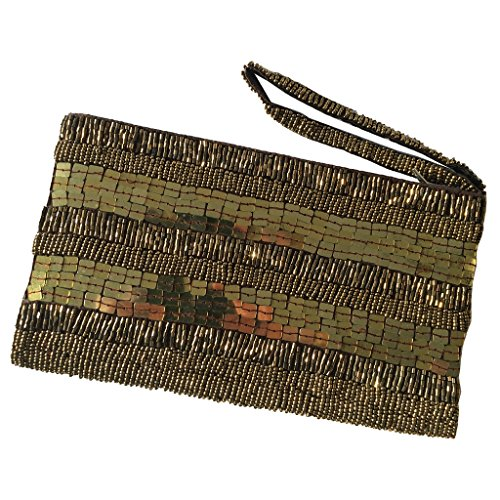 mit Perlen Schöne Unterarmtasche Parteitasche Gold handgemachte OY6Bng