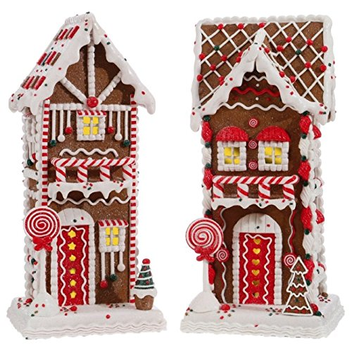 Set of  2 - Two story Gingerbread Houses - 10.5