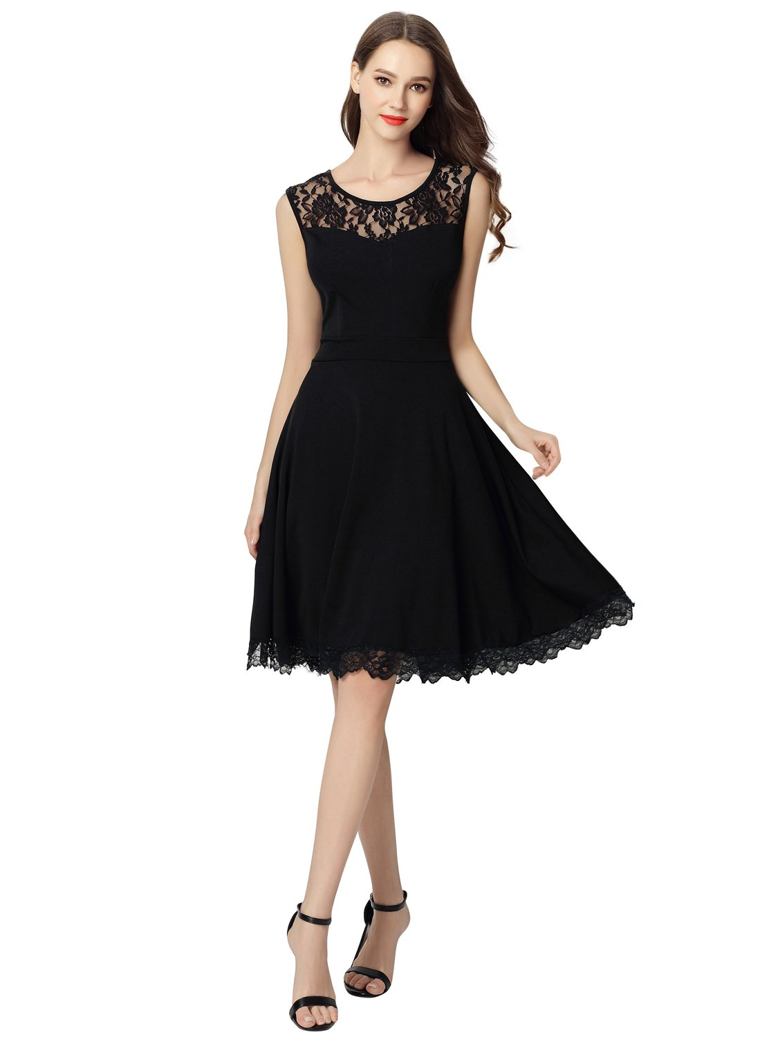 Dresms Women Sleeveless Lace Floral Elegant Cocktail Dress Crew Neck Knee Length (Black, Small) by Dresms (Image #4)