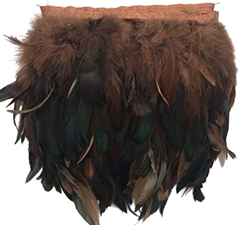 AWAYTR Rooster Feather Fringe Trim for Crafts Width 5-7 Pack of 5 Yards Dark brown