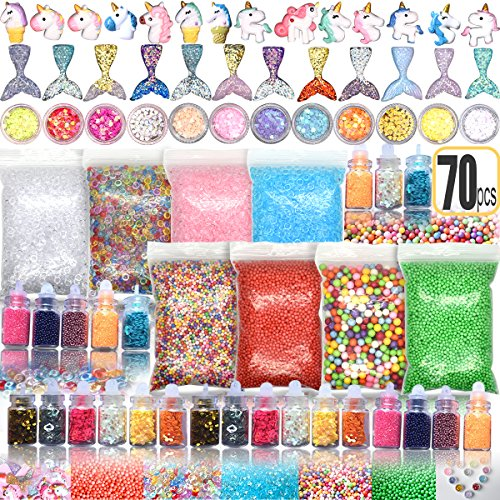 70PCS Slime Add Ins Slime Kit for Girls and Boys Floam Beads Fish Bowl Beads Mreaind Unicorn Slime Charms Glitter Jars Slime Supplies Kit