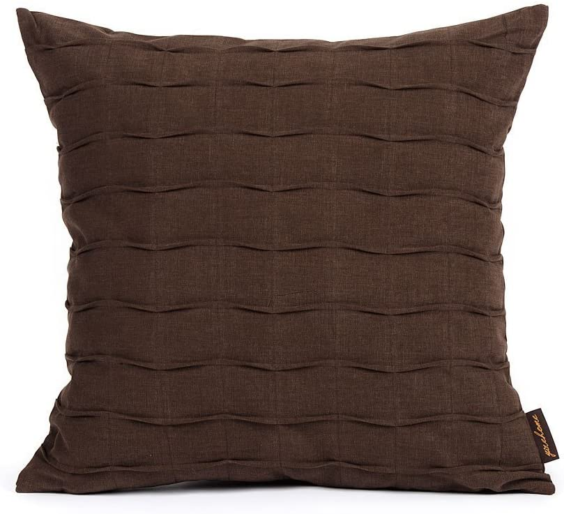 Decorative Accent Throw Cushion Pillow Cover | Solid Modern Pintuck Pillowcase for Sofa Couch Bedroom I Premium Quality 100% Cotton Upholstery Fabric | Cover Only 20 x 20 Inches (Dark Brown)